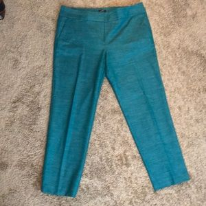 Jewel tone teal ankle pant.